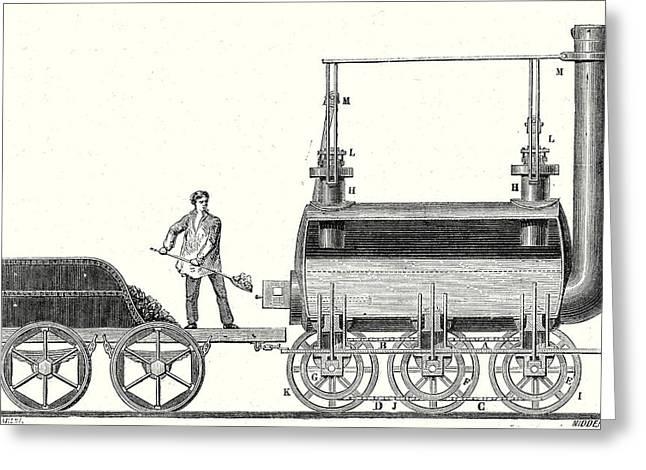 Stephensons Endless Chain Locomotive Greeting Card