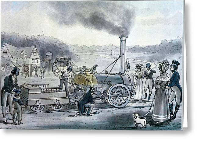 Stephensons Northumbrian, The First Locomotive To Be Built With An Integral Firebox Greeting Card by English School