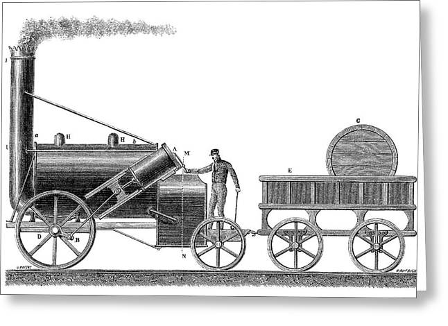 Stephenson's Rocket Greeting Card by Science Photo Library