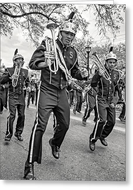 Marching Band Greeting Cards - Steppin Out monochrome Greeting Card by Steve Harrington