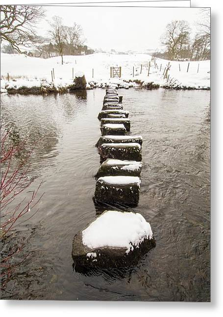 Stepping Stones Across The River Rothay Greeting Card