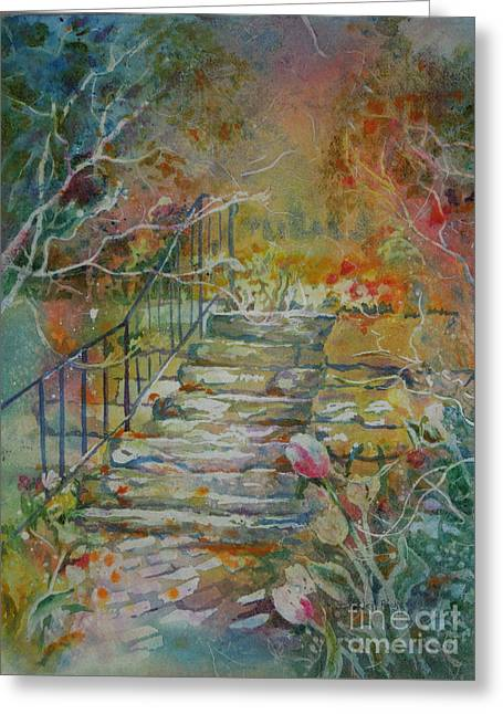 Steps And Tulips Greeting Card