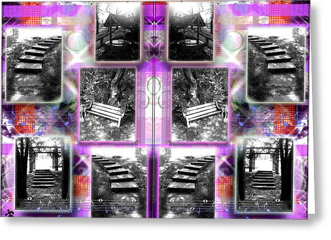 Steps Double Purplered  Greeting Card