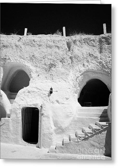 steps from the courtyard up to the entrance of the caves at the Sidi Driss Hotel underground at Matmata Tunisia scene of Star Wars films vertical Greeting Card