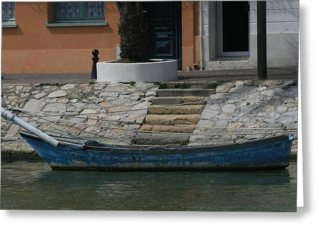 Steps To Blue Boat Greeting Card