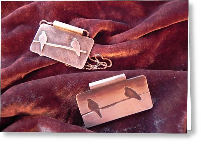 Sterling Silver Bird Pendants Greeting Card