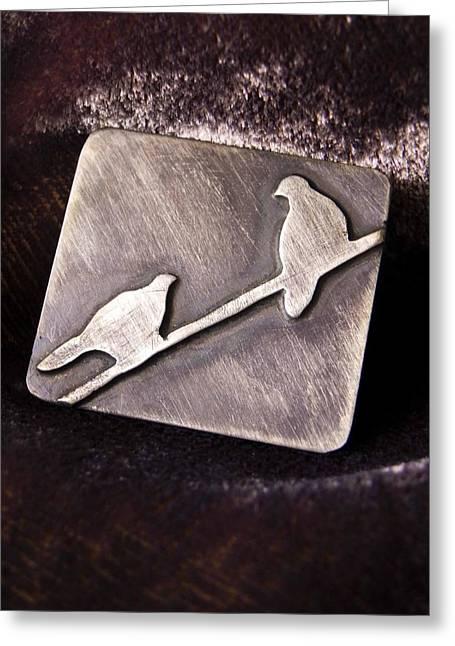 Sterling Silver Birds Greeting Card