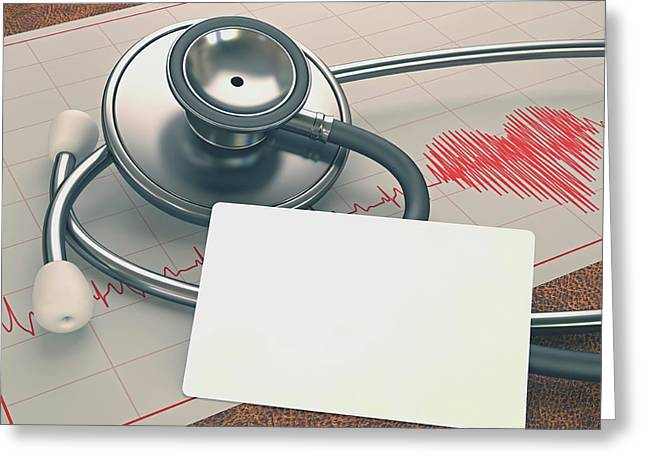 Stethoscope And Ecg Greeting Card by Ktsdesign