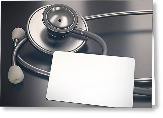 Stethoscope And Piece Of Card Greeting Card by Ktsdesign
