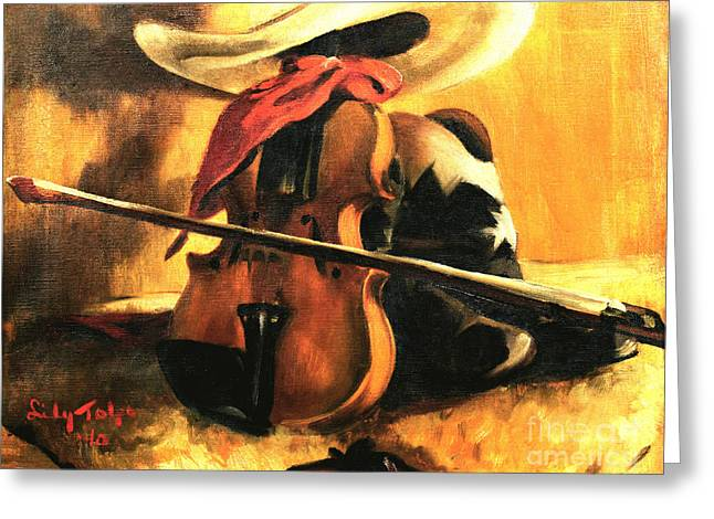 Stetson - Fiddle - Boots  Greeting Card