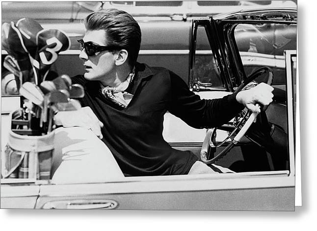 Steve Holland In A Chrysler New Yorker Greeting Card by Paul Himmel