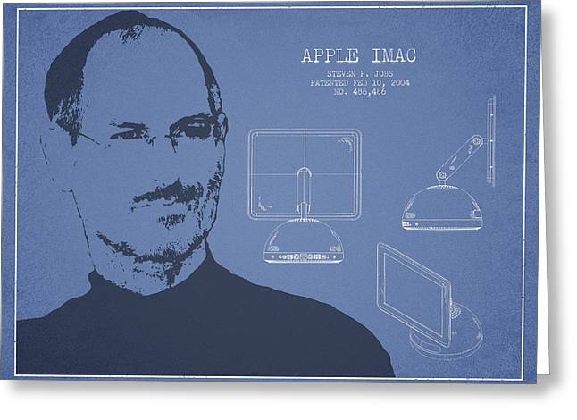 Steve Jobs Imac  Patent - Light Blue Greeting Card by Aged Pixel