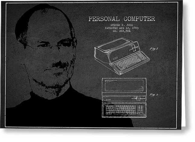 Steve Jobs Personal Computer Patent - Dark Greeting Card by Aged Pixel
