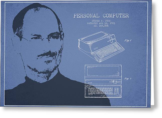Steve Jobs Personal Computer Patent - Light Blue Greeting Card by Aged Pixel