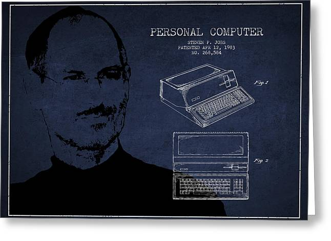 Steve Jobs Personal Computer Patent - Navy Blue Greeting Card by Aged Pixel