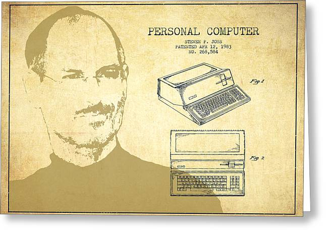 Steve Jobs Personal Computer Patent - Vintage Greeting Card by Aged Pixel
