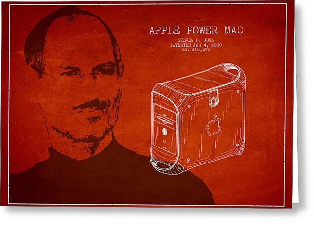 Steve Jobs Power Mac Patent - Red Greeting Card