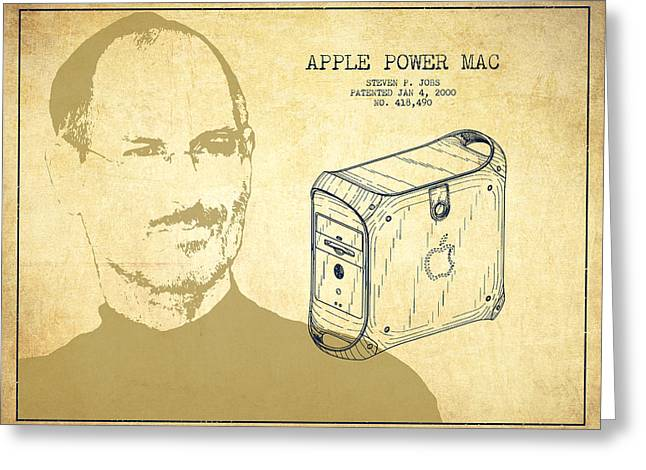 Steve Jobs Power Mac Patent - Vintage Greeting Card by Aged Pixel