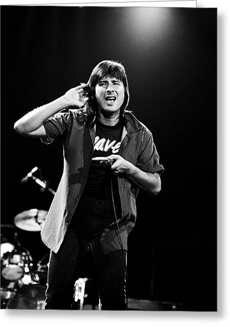Greeting Card featuring the photograph Steve Perry Journey 1983 by Chris Walter