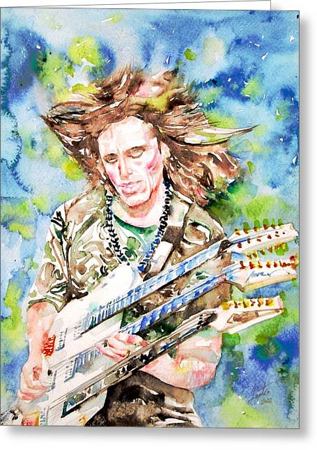 Steve Vai Playing The Guitar -watercolor Portrait Greeting Card by Fabrizio Cassetta