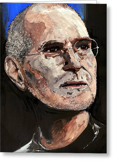 Greeting Card featuring the painting Steven Paul Jobs by Gordon Dean II