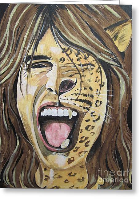 Steven Tyler As A Wild Cat Greeting Card by Jeepee Aero