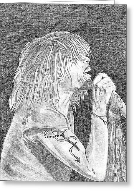 Steven Tyler Concert Drawing Greeting Card