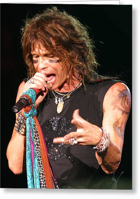 Greeting Card featuring the photograph Steven Tyler by Don Olea