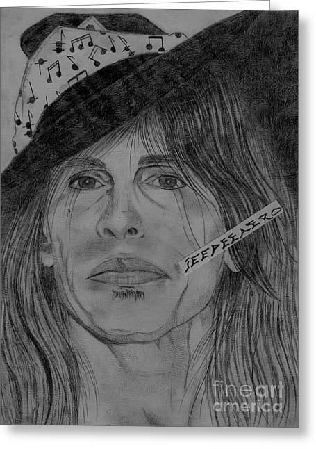 Steven Tyler Portrait Drawing Greeting Card