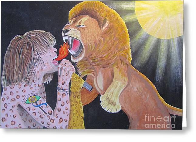 Steven Tyler Versus Lion Greeting Card