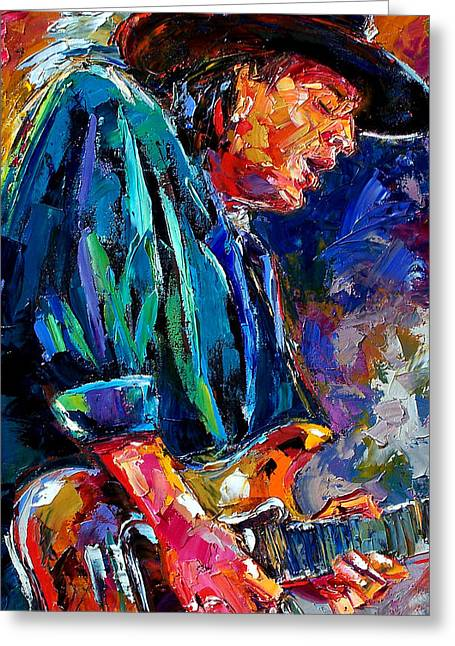 Stevie Ray... Greeting Card by Debra Hurd