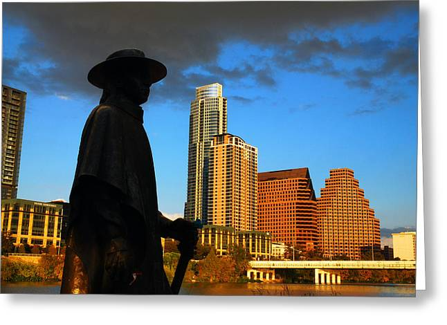 Greeting Card featuring the photograph Stevie Ray In Austin by James Kirkikis