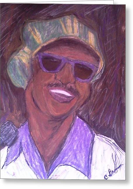 Greeting Card featuring the drawing Stevie Wonder 2 by Christy Saunders Church