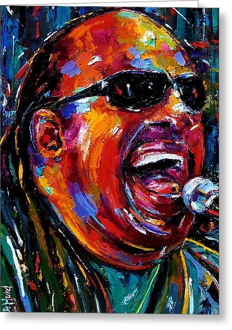 Stevie Wonder Greeting Card by Debra Hurd