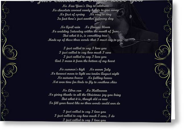 Stevie Wonder Gold Scrolled Called To Say I Love You Greeting Card