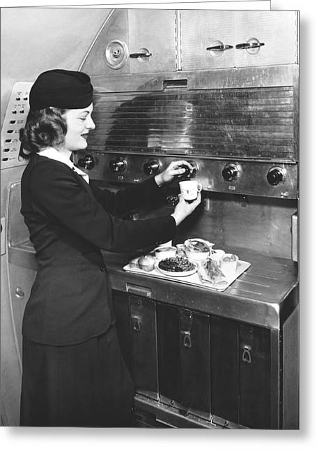 Stewardess Preparing Dinner Greeting Card