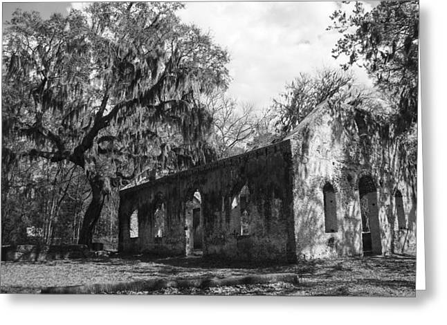 St.helena Chapel Of Ease Bw 1 Greeting Card by Steven  Taylor
