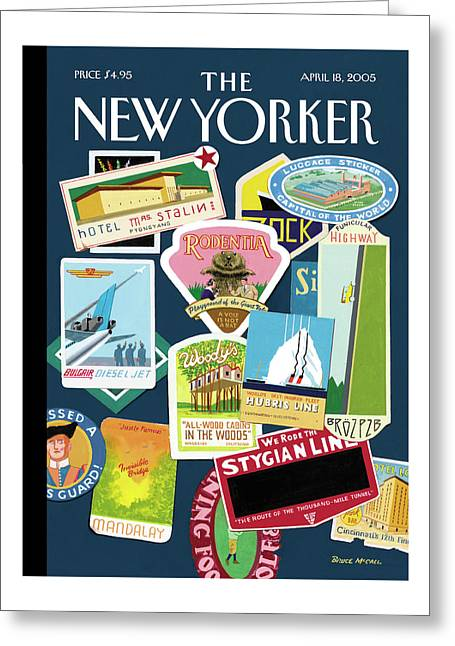 Stickers Or Badges Of Vacation Destinations Greeting Card