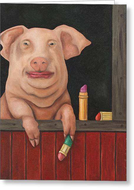 Still A Pig Greeting Card by Leah Saulnier The Painting Maniac