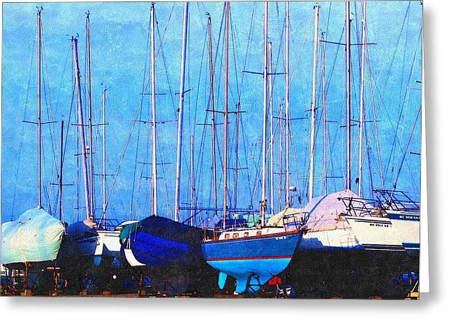 Still In Storage North Muskegon Marina  Greeting Card by Rosemarie E Seppala