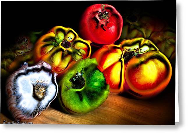 Still-life . Tomatoes And Garlic. 2013 80/60 Cm.  Greeting Card