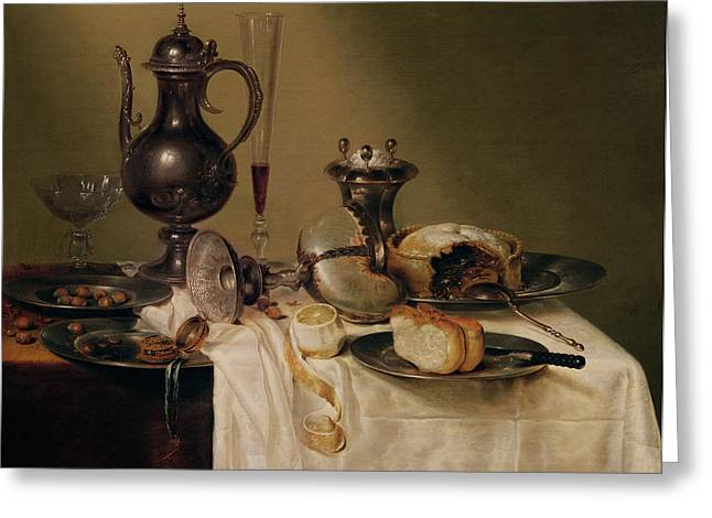 Still Life, 1642 Oil On Canvas Greeting Card by Willem Claesz. Heda