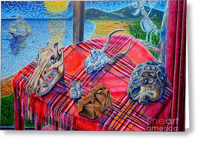 Greeting Card featuring the painting Still Life And ...pirats by Viktor Lazarev
