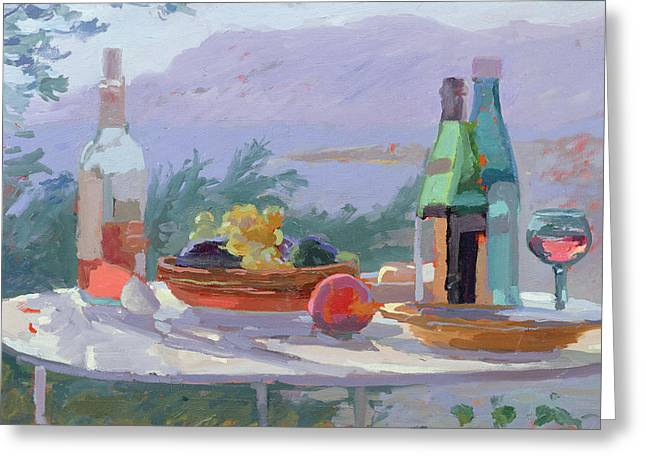 Still Life And Seashore Bandol Greeting Card by Sarah Butterfield