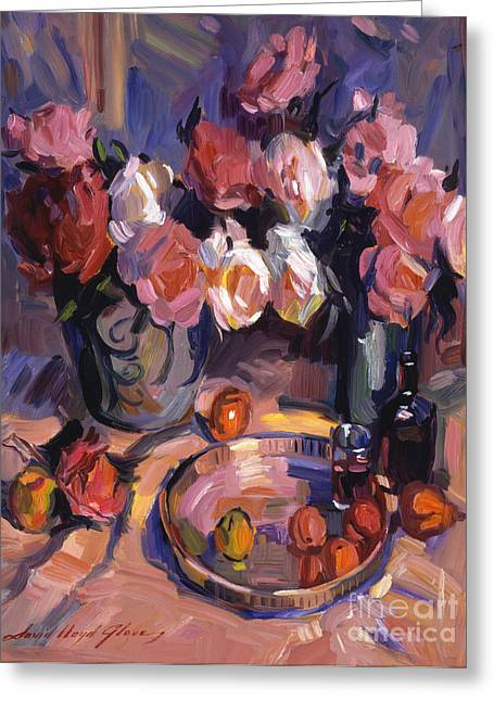 Still Life Apres Manet Greeting Card by David Lloyd Glover