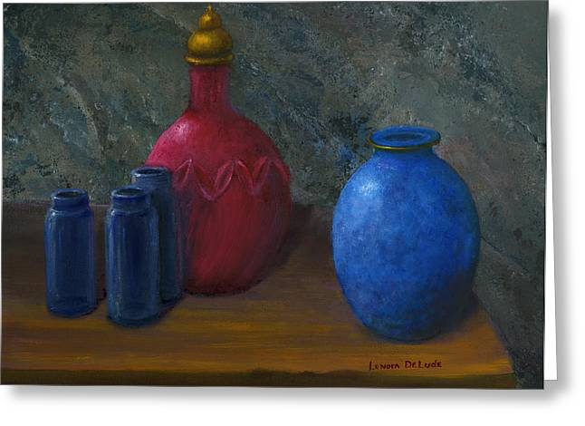 Still Life Art Blue And Red Jugs And Bottles Greeting Card