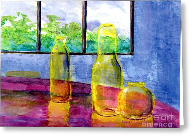 Still Life Art Bright Yellow Bottles And Blue Wall Greeting Card