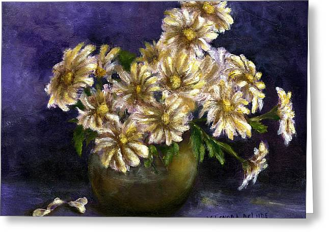Still Life Art Diaisies In Purple  Greeting Card