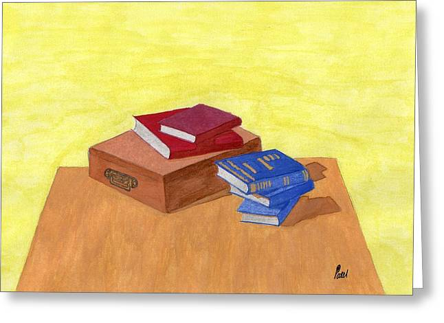 Still Life - Books Greeting Card by Bav Patel