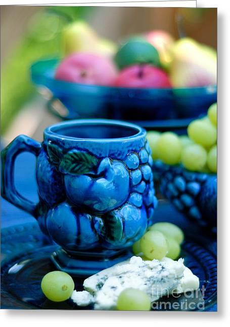 Still Life Cheeses And Grapes Greeting Card by Amy Cicconi